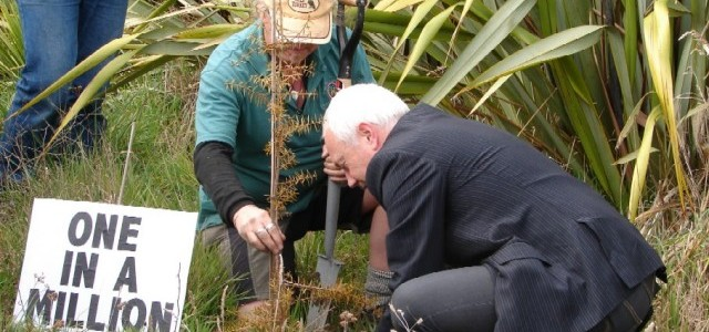 Travis Wetland Planting 2009 - Mayor Bob Parker planting  totara -3